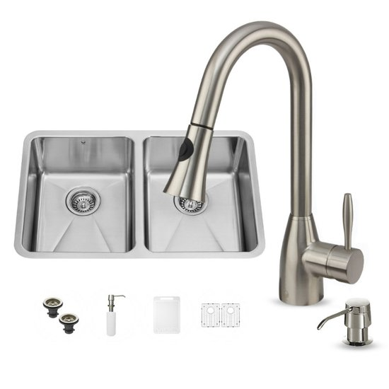 """Vigo VIG-VG15233, All in One 29-inch Undermount Stainless Steel Double Bowl Kitchen Sink and Faucet Set , 18 Gauge, 29-1/4"""" W x 18-1/2"""" D x 8-1/4"""" H, Stainless Steel"""