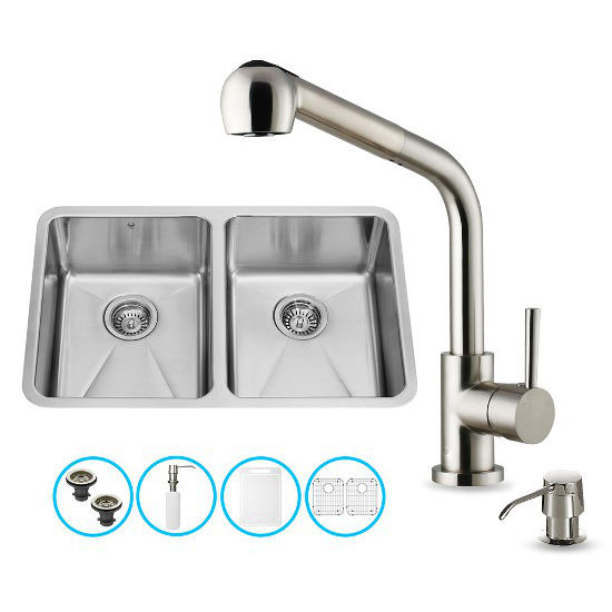 "Vigo VIG-VG15234, All in One 29-inch Undermount Stainless Steel Double Bowl Kitchen Sink and Faucet Set , 18 Gauge, 29-1/4"" W x 18-1/2"" D x 8-1/4"" H, Stainless Steel"