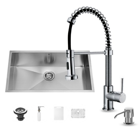 "Vigo VIG-VG15243, All in One 30-inch Undermount Stainless Steel Kitchen Sink and Chrome Faucet Set , 16 Gauge, 30"" W x 19"" D x 10"" H, Stainless Steel/Chrome"