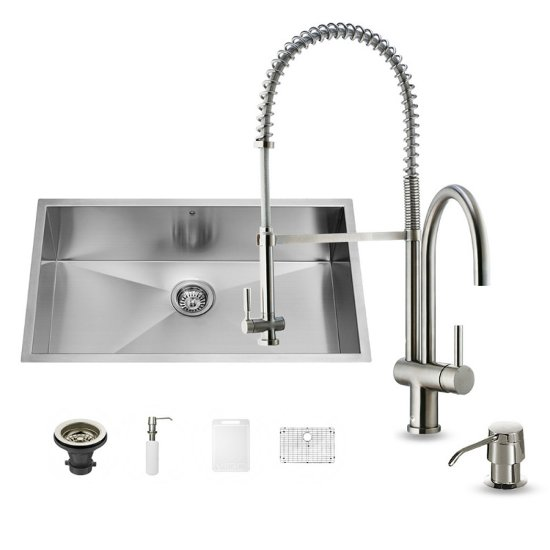 "Vigo VIG-VG15245, All in One 30-inch Undermount Stainless Steel Kitchen Sink and Faucet Set , 16 Gauge, 30"" W x 19"" D x 10"" H, Stainless Steel"