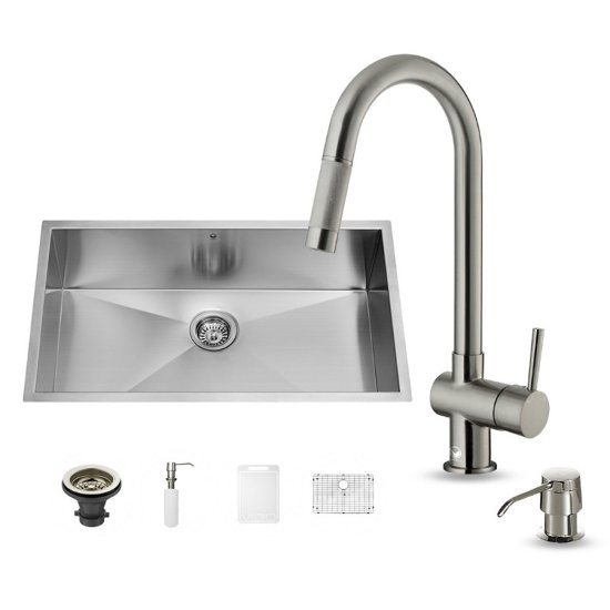 "Vigo VIG-VG15246, All in One 30-inch Undermount Stainless Steel Kitchen Sink and Faucet Set , 16 Gauge, 30"" W x 19"" D x 10"" H, Stainless Steel"