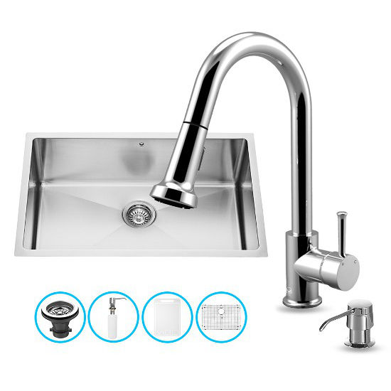 "Vigo VIG-VG15249, All in One 30-inch Undermount Stainless Steel Kitchen Sink and Chrome Faucet Set , 16 Gauge, 30"" W x 19"" D x 10"" H, Stainless Steel/Chrome"