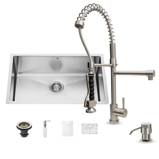 "Vigo VIG-VG15252, All in One 30-inch Undermount Stainless Steel Kitchen Sink and Faucet Set , 16 Gauge, 30"" W x 19"" D x 10"" H, Stainless Steel"