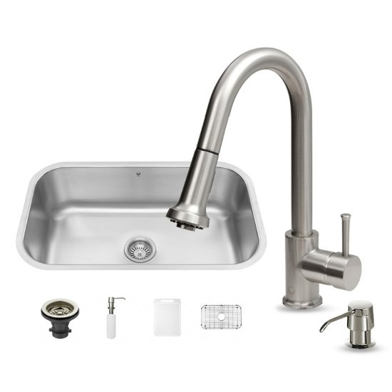 Vigo VIG-VG15279, All in One 30-inch Undermount Stainless Steel Kitchen Sink and Faucet Set