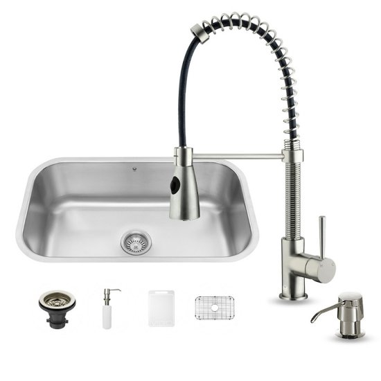 Vigo VIG-VG15280, All in One 30-inch Undermount Stainless Steel Kitchen Sink and Faucet Set