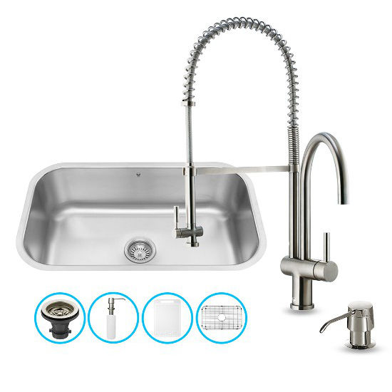 Vigo VIG-VG15281, All in One 30-inch Undermount Stainless Steel Kitchen Sink and Faucet Set