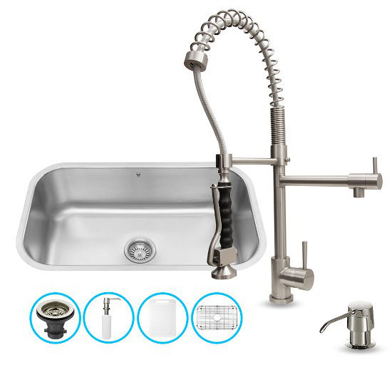 Vigo VIG-VG15282, All in One 30-inch Undermount Stainless Steel Kitchen Sink and Faucet Set