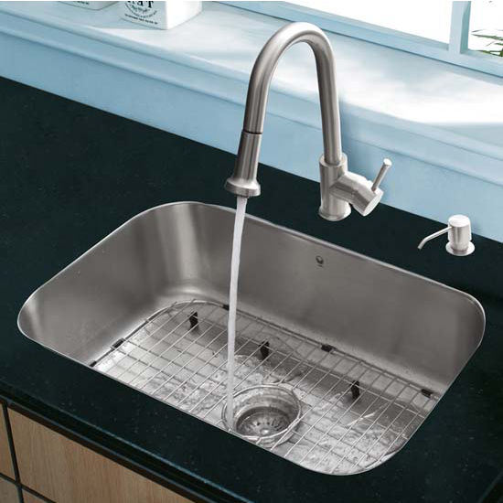 Vigo VIG-VG15284, All in One 23'' Undermount Stainless Steel Kitchen Sink and Faucet Set