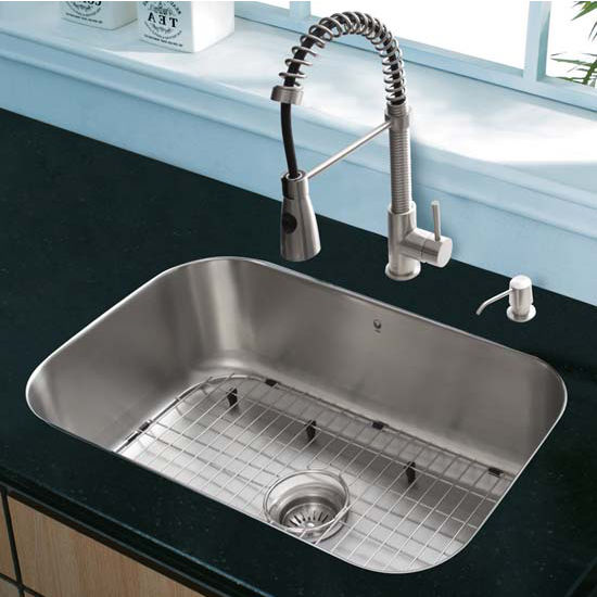 Vigo VIG-VG15285, All in One 23'' Undermount Stainless Steel Kitchen Sink and Faucet Set
