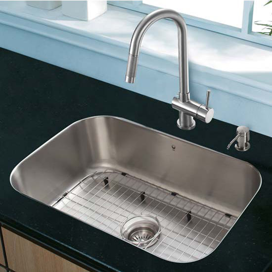 Vigo VIG-VG15286, All in One 23'' Undermount Stainless Steel Kitchen Sink and Faucet Set
