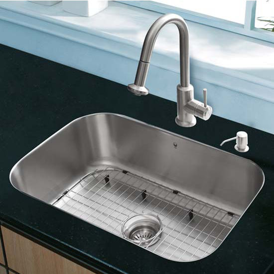 Vigo VIG-VG15287, All in One 23'' Undermount Stainless Steel Kitchen Sink and Faucet Set