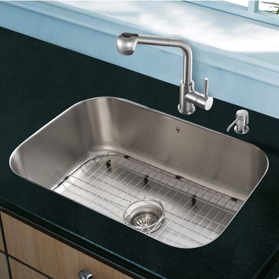 Vigo VIG-VG15288, All in One 23'' Undermount Stainless Steel Kitchen Sink and Faucet Set