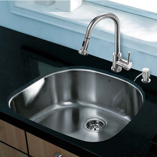 Vigo VIG-VG15289, All in One 24'' Undermount Stainless Steel Kitchen Sink and Chrome Faucet Set