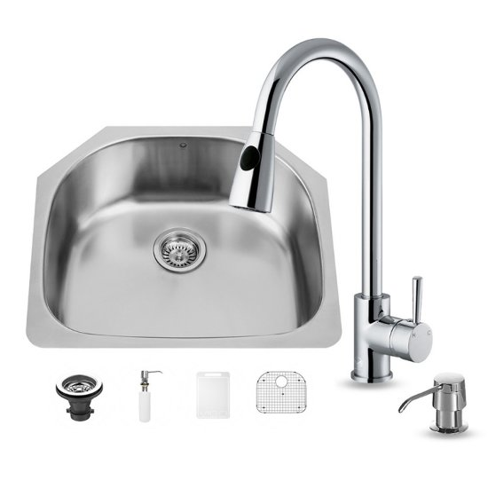 Vigo VIG-VG15290, All in One 24'' Undermount Stainless Steel Kitchen Sink and Chrome Faucet Set