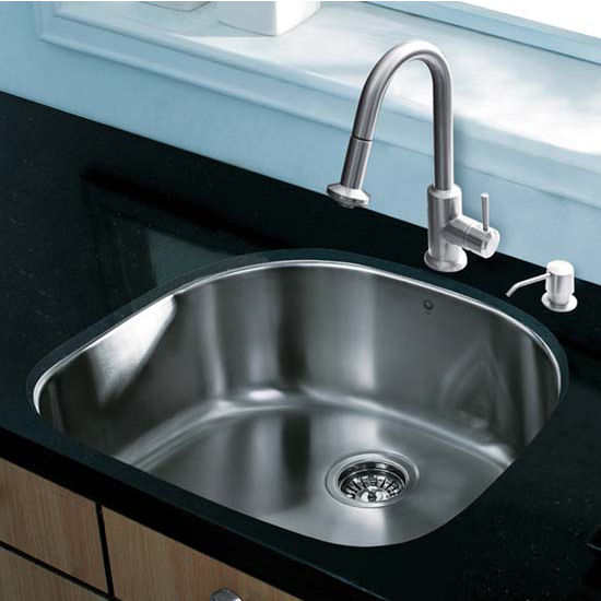 Vigo VIG-VG15291, All in One 24'' Undermount Stainless Steel Kitchen Sink and Faucet Set