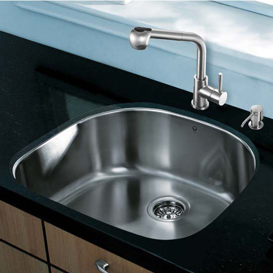 Vigo VIG-VG15292, All in One 24'' Undermount Stainless Steel Kitchen Sink and Faucet Set
