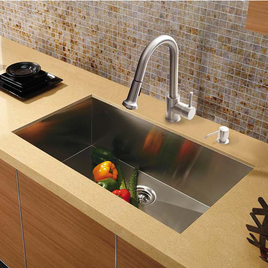 Vigo VIG-VG15293, All in One 30'' Undermount Stainless Steel Kitchen Sink and Faucet Set