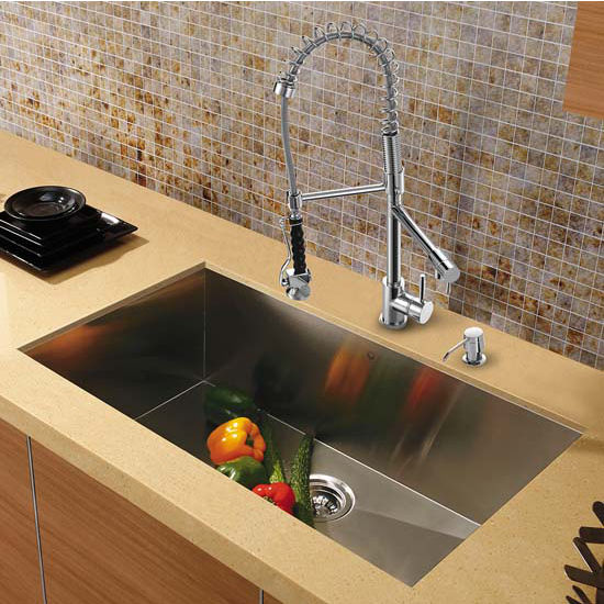 Vigo VIG-VG15294, All in One 30'' Undermount Stainless Steel Kitchen Sink and Chrome Faucet Set