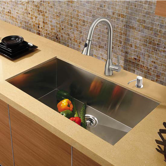 Vigo VIG-VG15295, All in One 30'' Undermount Stainless Steel Kitchen Sink and Faucet Set