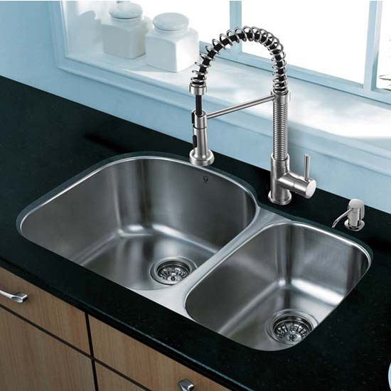 Vigo VIG-VG15301, All in One 31'' Undermount Stainless Steel Kitchen Sink and Faucet Set
