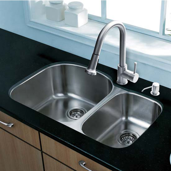 Vigo VIG-VG15302, All in One 31'' Undermount Stainless Steel Kitchen Sink and Faucet Set