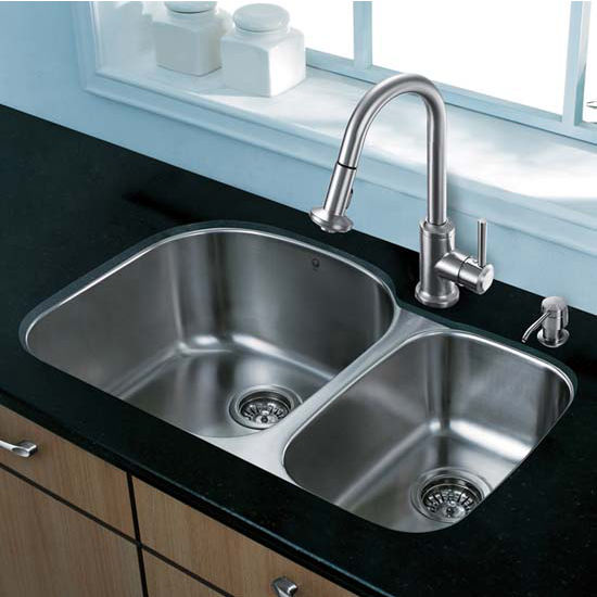 Vigo VIG-VG15306, All in One 31'' Undermount Stainless Steel Kitchen Sink and Faucet Set