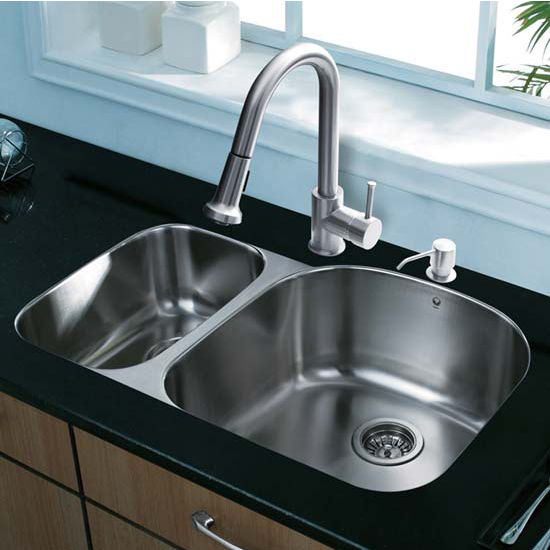 Vigo VIG-VG15307, All in One 31'' Undermount Stainless Steel Kitchen Sink and Faucet Set
