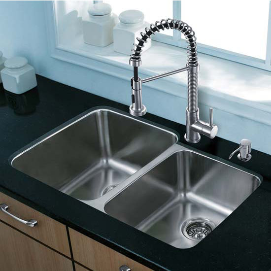 Vigo VIG-VG15309, All in One 32'' Undermount Stainless Steel Kitchen Sink and Faucet Set