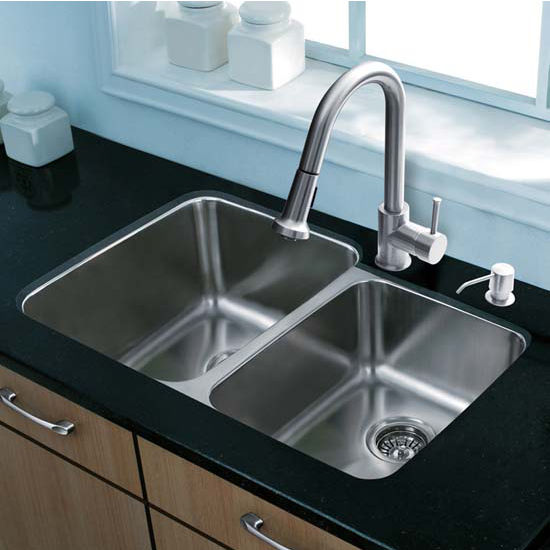Vigo VIG-VG15310, All in One 32'' Undermount Stainless Steel Kitchen Sink and Faucet Set