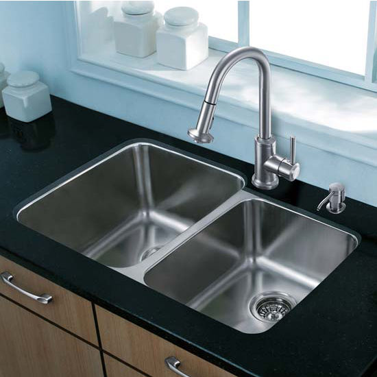 Vigo VIG-VG15313, All in One 32'' Undermount Stainless Steel Kitchen Sink and Faucet Set
