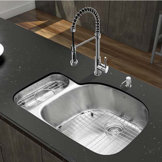 Vigo VIG-VG15321, All in One 32'' Undermount Stainless Steel Kitchen Sink and Chrome Faucet Set
