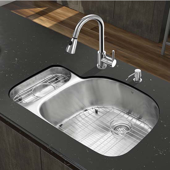 Vigo VIG-VG15323, All in One 32'' Undermount Stainless Steel Kitchen Sink and Chrome Faucet Set