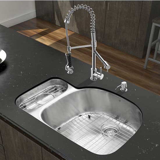 Vigo VIG-VG15326, All in One 32'' Undermount Stainless Steel Kitchen Sink and Chrome Faucet Set