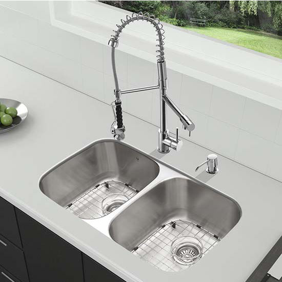 Vigo VIG-VG15336, All in One 32'' Undermount Stainless Steel Kitchen Sink and Chrome Faucet Set