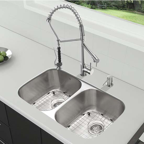 Vigo VIG-VG15337, All in One 32'' Undermount Stainless Steel Kitchen Sink and Faucet Set