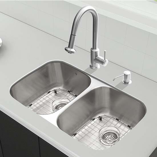 Vigo VIG-VG15339, All in One 32'' Undermount Stainless Steel Kitchen Sink and Faucet Set