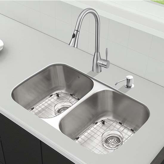 Vigo VIG-VG15340, All in One 32'' Undermount Stainless Steel Kitchen Sink and Faucet Set
