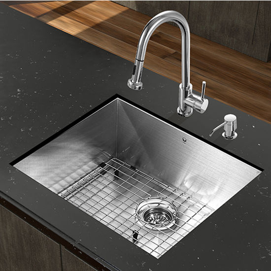 "Kitchen Sink Set: All-In-One 23"" W X 18"" D Ludlow Stainless Steel Undermount"