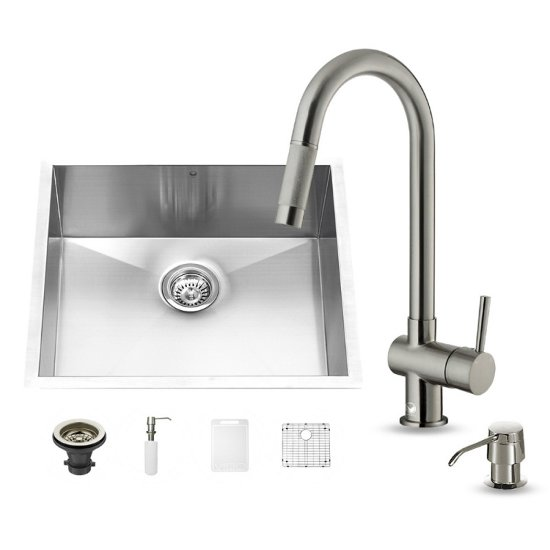 Vigo #VIG-VG15351 All in One 23-inch Undermount with Faucet Set in Stainless Steel 23''W x 19''D x 9-7/8''H