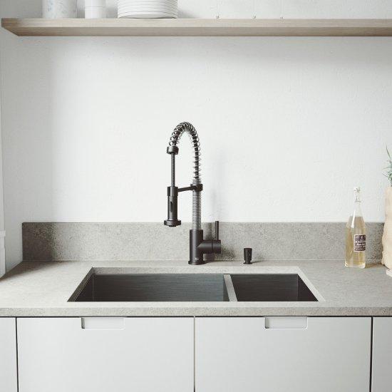 VG15362 Sink Set w/ Edison Faucet Matte Black