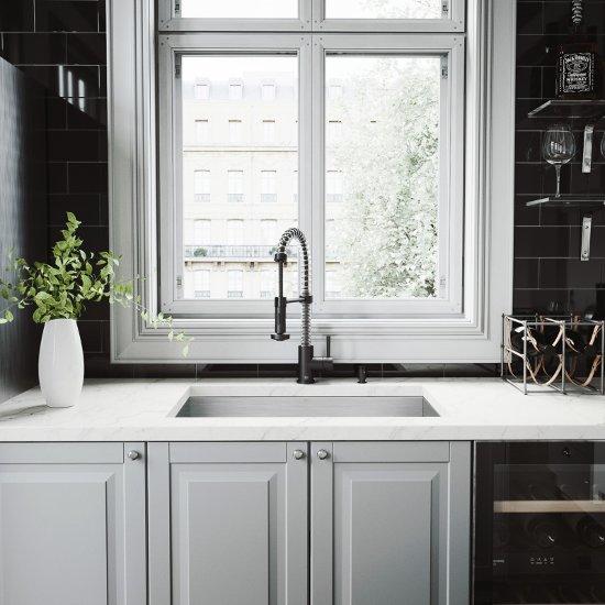 VG15363 Sink Set w/ Edison Faucet Matte Black