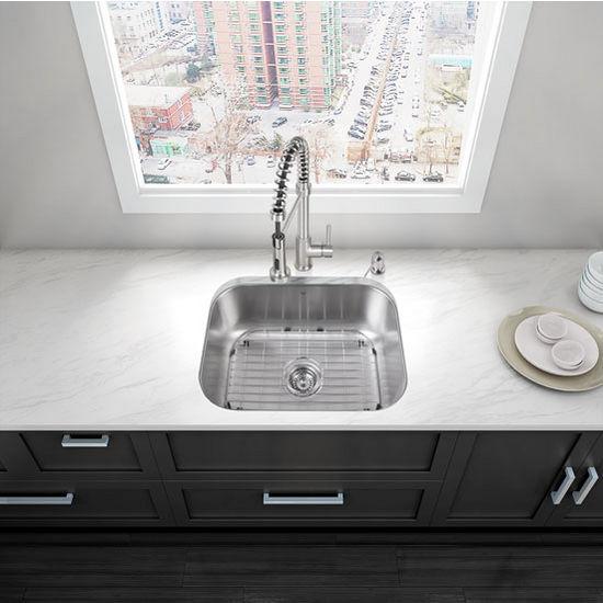 """23"""" Undermount Stainless Steel 18 Gauge Single Bowl Kitchen Sink"""