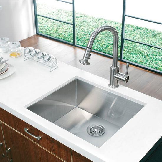 "23"" Undermount Kitchen Sink, Grid and Strainer, Stainless Steel Finish, 23""W x 20""D"