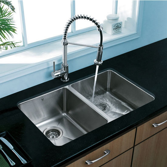 "29"" Undermount Stainless Steel 16 Gauge Double Bowl Kitchen Sink"
