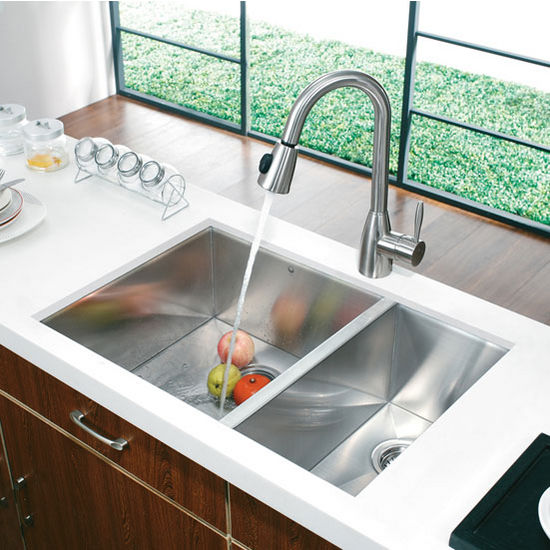 29 Undermount Stainless Steel 16 Gauge Double Bowl Kitchen Sink With Complimentary
