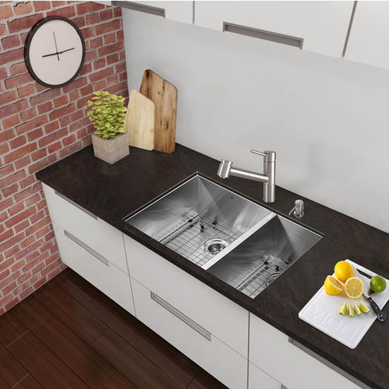 "29"" Undermount Kitchen Sink, Two Grids and Two Strainers, Stainless Steel Finish, 29""W x 20""D"