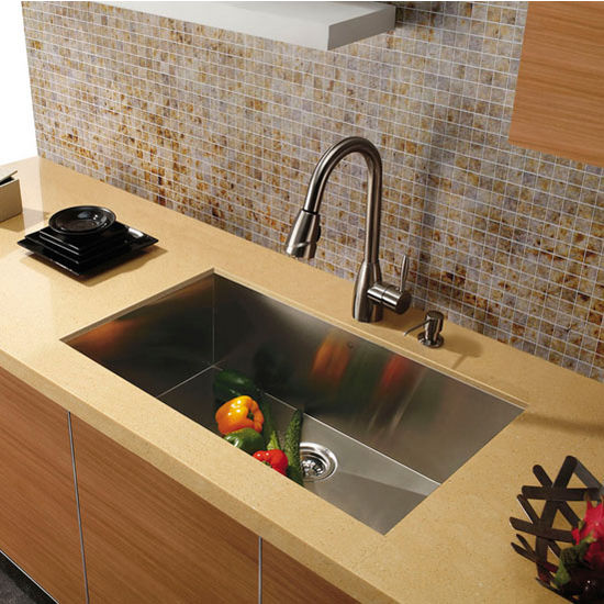 "30"" Undermount 16 Gauge Single Bowl Kitchen Sink, Stainless Steel Finish, 30""W x 19""D"