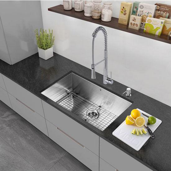 "30"" Undermount Kitchen Sink, Grid and Strainer, Stainless Steel Finish, 30""W x 19""D"