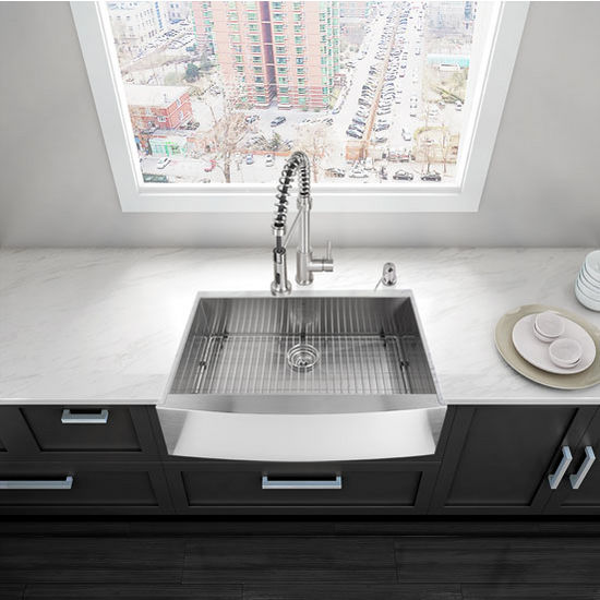 """30"""" Farmhouse Kitchen Sink, Grid and Strainer, Stainless Steel Finish, 30""""W x 22-1/4""""D"""
