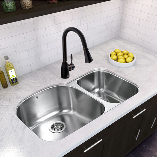 "31"" Undermount Kitchen Sink with Small Bowl on Right, Two Grids and Two Strainers, Stainless Steel Finish, 31-1/2""W x 20-1/2""D"